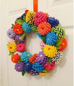 "Summer Pinecone Zinnia Wreath in Patriotic Theme ""Zinnias Pinecone Wreath Zinnia Door Hanger by SouthernEscentuals"", ""Zinnias Pinecone Wreath Zinnia Doo Kids Crafts, Summer Crafts, Easter Crafts, Holiday Crafts, Christmas Crafts, Diy And Crafts, Arts And Crafts, Pinecone Crafts Kids, Pine Cone Crafts For Kids"