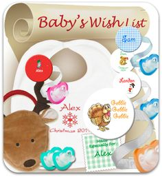 Great gift ideas on baby's wish list. Lots of free JollyPops with Personalized Bibs & Clips