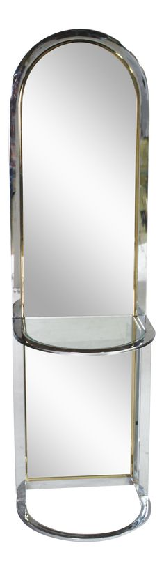 Full-length racetrack arched entry way freestanding mirror by Pace collection. Made in a chrome frame with brass banded inset and a demilune glass . Console Shelf, Freestanding Mirrors, Brass Band, Floor Mirror, Chrome, Glass, Collection, Interiors, Amazing