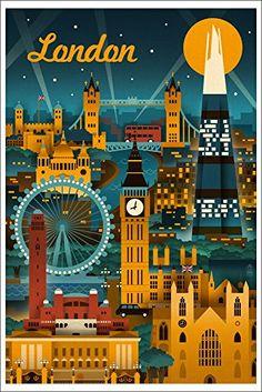 London, England - Retro Skyline (12x18 Art Print, Wall Decor Travel Poster)