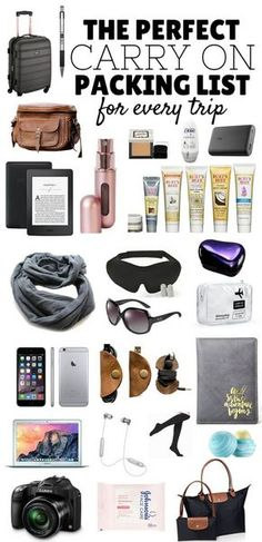 The Perfect Carry On Packing List! Click to learn how to pack your carry on bag like a pro for every trip - inc Tech, Comfort