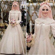 Tendance Mode : 50 Des plus belles Robes de mariage pour les Mariées Voilées Muslimah Wedding Dress, Muslim Wedding Dresses, Muslim Brides, Muslim Dress, Bridal Dresses, Bridal Hijab, Wedding Hijab, Muslim Fashion, Hijab Fashion