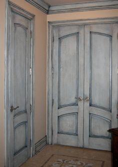 antique blue crackle eclectic bedroom