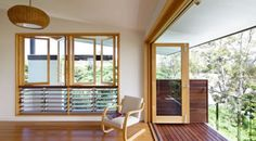 Bifolds opening to Juliette balcony. Riddel Architecture Hill End home.