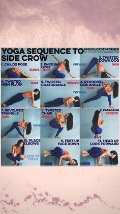 Yoga sequence to side crow Yoga sequence to side crow Yoga Crow Pose, Yoga Poses, Side Crow Pose, Yoga Flow Sequence, Yoga Sequences, Gentle Yoga, Aerial Yoga, Vinyasa Yoga, Yoga Tips