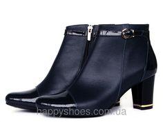 """Купить Ботинки темно-синие кожаные с ремешком в Запорожье от компании """"HappyShoes"""" - 231020470"""
