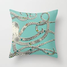 Throw Pillows featuring Green Octopus by Rachel Russell Nautical Home, Nautical Pillows, Dot And Bo, Tiffany Blue, Coastal Decor, Just In Case, Decor Styles, Pillow Covers, Bedroom Decor
