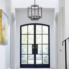Geometry has never looked so cool. The Quorum Torres pendant makes great use of open cubes to create an eye-catching look for any space. Black Windows Exterior, Interior Windows, Black Trim Interior, Black Trim Exterior House, Simple Interior, French Interior, Exterior Doors, Black French Doors, Black Doors