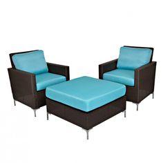 Angelo:HOME Resin Wicker Chair Set in Mediterranean Ocean Blue #ZoostoresPin2Win