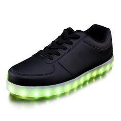 Zapatillas Con Luces LED Bajos Negro De Mujer