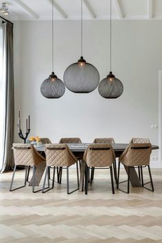 Non Random Pendant features Black or White fiberglass soaked in epoxy resin with powder coated aluminum cap, shiny anodized aluminum reflector, and steel chrome canopy. Available in two sizes. One 60 watt 120 volt type medium base incandescent bulb is Table Design, Dining Room Design, Kitchen Design, Design Room, Estilo Interior, Minimalist Dining Room, Best Dining, Room Lights, Room Chairs