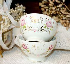 Antique Porcelain French Wedding Gift Cafe au Lait Bowls Set of 2