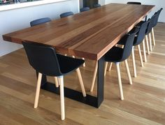Recycled Messmate Dining Table To order your beautiful recycled messmate dining table; make an appointment today! Dinning Table Design, Timber Dining Table, Dining Table With Bench, Dinning Room Tables, Furniture Dining Table, Kitchen Dinning, Dining Chairs, Console Tables, Timber Furniture
