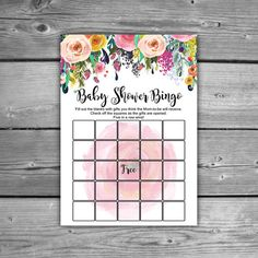 Floral Baby Shower BINGO - Printable - Instant Download - Shabby Chic Baby…