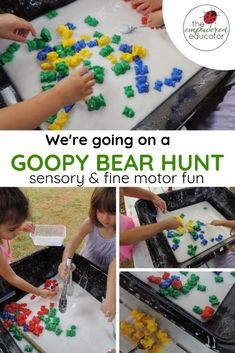 We're going on a Goopy Bear Hunt. - The Empowered Educator - a great way to expand on the great 'We're going on a bear hunt''' book with some messy and sensory play for toddlers and preschoolers. Sensory Bins, Sensory Activities, Infant Activities, Sensory Play, Preschool Activities, Book Activities, Bear Crafts Preschool, Infant Sensory, Sensory Bottles