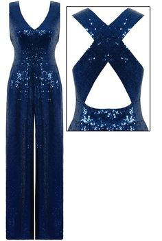 This pretty black sequins jumpsuit is a real head turner!Kriss cross straps to the back.Invisible zip at the side.Fully lined. Jumpsuit Elegante, Sequin Jumpsuit, Jumpsuit Outfit, Xmas Party Outfits, Cute Outfits, Hijab Evening Dress, Evening Dresses, Sexy Dresses, Nice Dresses