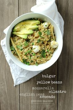 A Healthy bulgur wheat salad full of great flavors. Bulgur Wheat is high in fiber and protein and tastes amazing. Fill this salad with your favorite extras. Raw Food Recipes, Salad Recipes, Healthy Recipes, Cilantro, Sugar Free Eating, Mozzarella Salad, Mouth Watering Food, Avocado, Bon Appetit