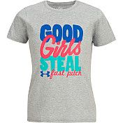 Under Armour Girls' Good Girls Steal T-Shirt - Haven't played in a few years but makes me smile!