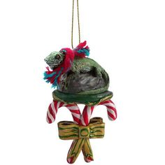 Realistic Hand Painted Cold Cast Stone Resin Iguana on a Candy Cane Ornament