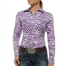 Ariat Women's Berry Button-Down Shirt in Dewberry: For the cowgirl with a flair for fashion. Ariat's Greater Arm Mobility Technology provides an ideal fit and comfort in motion.