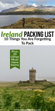 ireland travel Ireland Packing List: 10 Things You Are Forgetting To Bring Travel Ireland Tips, Travel Tips For Europe, Ireland Vacation, Packing List For Travel, New Travel, Travel Abroad, Travel Destinations, Solo Travel, Scotland Travel