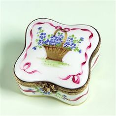 Limoges Basket of Blue Flowers and Ribbon Box The Cottage Shop