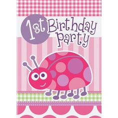 Birthday Pink Ladybug invitations, pack of 8 with envelopes. We have more pink birthday party items and tableware available in our online shop. Pink Ladybug Party, Ladybug Party Supplies, 1st Birthday Party Supplies, 1st Birthday Decorations, Kids Party Supplies, 1st Birthday Parties, Birthday Ideas, Birthday Fun, Ladybug 1st Birthdays