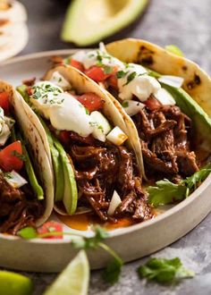 This Mexican Shredded Beef has incredible depth of flavour! The sauce is really rich and thick, and there is PLENTY of it. Fantastic for tacos, burritos, enchiladas and quesadillas, piled high on Mexican Red Rice or stuffed in rolls to make sliders!