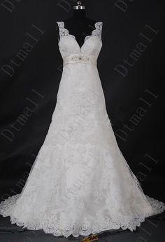 Des robes de mariée blanc/ivoire dentelle col en v robes par Dtmall, $239.00