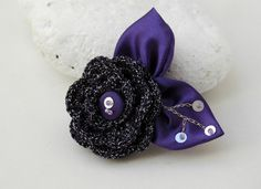 Purple Brooch Flower pin Crochet Brooch Pin by lindapaula on Etsy, €10.00
