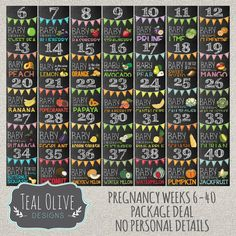 Weekly Pregnancy Chalkboard Sign Week 6-40 von TealOliveDesigns