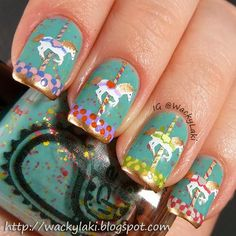 AMAZING Carousel manicure!! Wacky Laki: 31DC2013 Day 22 - Inspired by a Song