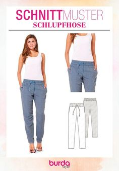 Sewing Pattern · Sew on trousers · super easy - Sewing Patterns · Slip Pants · Casual slacks made of light, summery fabrics, popular in trendy fl - Clothes Dye, Diy Clothes, Sewing Pants, Sewing Clothes, Easy Sewing Patterns, Dress Patterns, Pattern Sewing, Stitching Patterns, Look Fashion