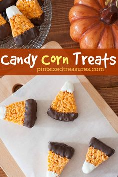 chocolate dipped candy corn rice crispy treats holiday treatsholiday recipesfun halloween