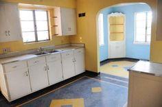 Original!! kitchen interior of 1949 brick house.