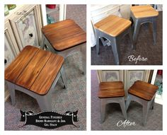 Metal and wood stools updated with General Finishes Brown Mahogany and Java Gel stain. By Tattered Gypsy