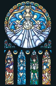 Sailor Moon stained glass windows... for when we build our D&D room...