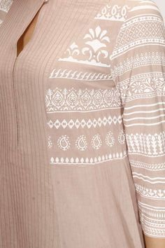 Anju Modi presents Taupe chanderi printed pintucks palazzos set available only at Pernia's Pop Up Shop. Indian Wedding Outfits, Pakistani Outfits, Indian Outfits, Indian Attire, Indian Wear, Kurta Designs, Blouse Designs, Salwar Kameez, Kamiz Design