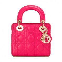Pre-Owned Dior Hot Pink Lady Dior Mini Bag (10.950 BRL) ❤ liked on Polyvore featuring bags, handbags, miniature purse, christian dior purses, round purse, lamb leather handbags and pre owned handbags