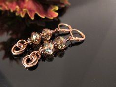 Copper and Swarovski Colorado Topaz Crystal by IBKcreations, $22.95