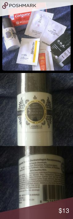 Perfect For Travel Lot of sample and travel size beauty items. Nail polish remover, serum x2, moisturizer, makeup primer, toothpaste and natural deodorant. This is the sought after Lavanila pure vanilla healthy deodorant! All items new & sealed Sephora Makeup