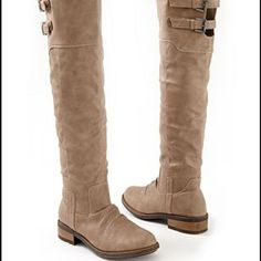 Super Cute  Knee High Boots!! Never worn, stylish and comfy!                       Shaft length : 20 in. The color is taupe. Shoes