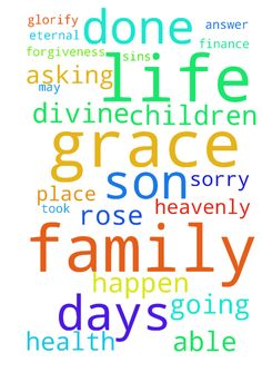 Lord i need u -  Thank you heavenly Father for being able to come to your throne of grace in your son Jesus christ name i ask for your forgiveness for me my husband and children and family sins Im so sorry I receive it as Jesus took our place for salvation rose 3 days later to have eternal life father u know all that going on in my life my marriage my health kids family finance is I ask for your divine mercy and grace let it all happen be resolve according to your word may your will be done…