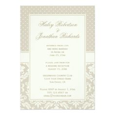 Damask Wedding Reception Card Elegant Tan Ivory Damask Polka Dots Reception Only Card