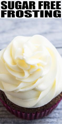FREE FROSTING RECIPE- Quick, easy, best sugar free vanilla buttercream icing homemade with simple ingredients. Uses sugar free powdered sugar and cream cheese to make it rich, fluffy, creamy. Chocolate flavor variation also available. Sugar Free Deserts, Sugar Free Sweets, Sugar Free Recipes, Sugar Free Vanilla Cake, Sugar Free Chocolate Cake, Vanilla Recipes, Splenda Recipes, Lemon Recipes, Chocolate Cupcakes