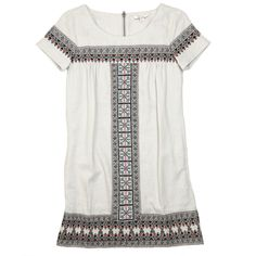 A classic shift dress from Ella Moss, with gorgeous Moroccan inspired embroidery.  Easy to pair with heels or flats,  the dress features a round neckline and back zipper closure.  55% Linen, 45% Rayon