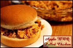 Apple BBQ Pulled Chicken (crock pot) http://www.momspantrykitchen.com/apple-bbq-pulled-chicken.html