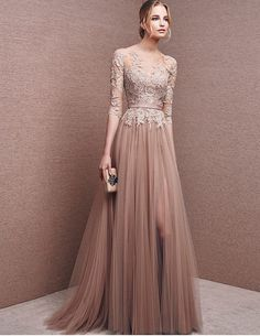 Rose smoke lace appliques illusion wedding gown by OCT21BER