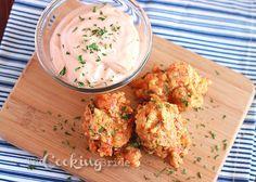 crawfish beignets w/ cajun dipping sauce & chive