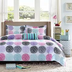 Mi Zone Carly Comforter Set Full/Queen Size - Teal, Purple , Doodled Circles Polka Dots – 4 Piece Bed Sets – Ultra Soft Microfiber Teen Bedding For Girls Bedroom Comforter Sets, Bed Comforters, Home Decor, Coverlet Set, Bed, Reversible Bedding, Purple Bedding, Luxury Bedding, Bedding Sets